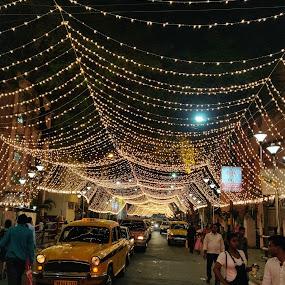 Festive Lights by Sandip Roy - City,  Street & Park  Street Scenes ( festival, nightlife, bright, street photography, streetlights )