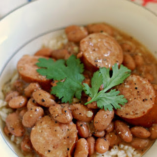 Pinto Beans and Rice with Sausage.