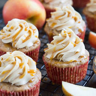 Apple Cupcakes with Caramel Frosting.