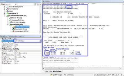 ANSYS Реакции в балочных соединениях, указанные в выводе решателя (Solver Output) в глобальной декартовой системе координат