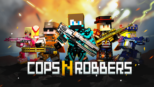 Cops N Robbers - 3D Pixel Craft Gun Shooting Games apkmartins screenshots 1