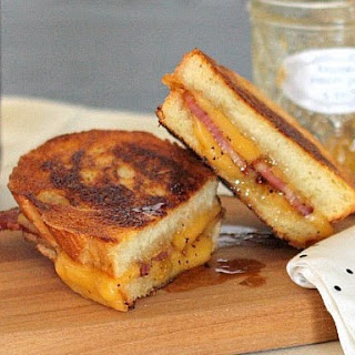 Bacon, Brie, and Bourbon Peach Jam Grilled Cheese
