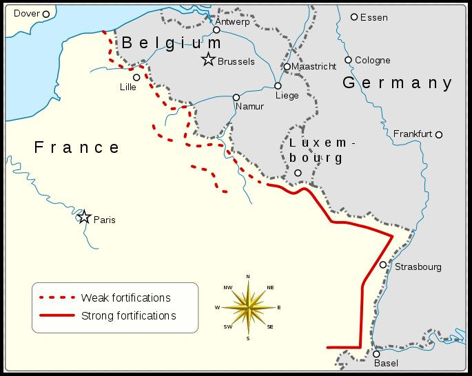 """Map of the Maginot Line, with """"weak fortifications"""" along the Belgian border proving totally inadequate when the German invasion began."""