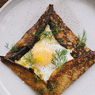 Buckwheat Crepes with Creamy Leeks and Baked Eggs Recipe