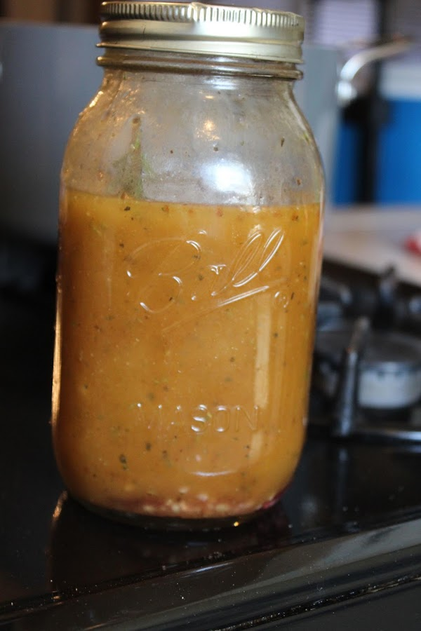To make dressing:  In a large glass jar or bottle with a lid, add...