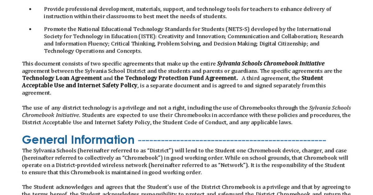Sylvania 1-1 Chromebook Policy.docx - Google Docs