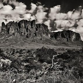 Superstition Mountains in Slight Sepia by Doug Redding - Landscapes Mountains & Hills ( douglas redding, mountains, b&w, black and white, superstition mountains, landscape )