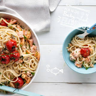 Super Healthy Salmon and Prawn Linguine.