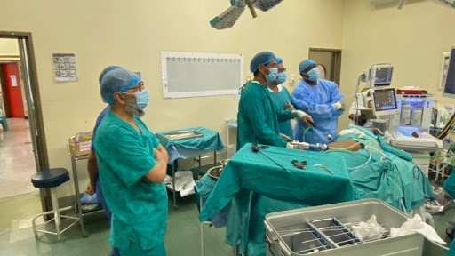 Dr Haroun Patel oversees the successful laparoscopic nephrology procedure, conducted at Saint Aidan's hospital, by Dr Ozair Alli.