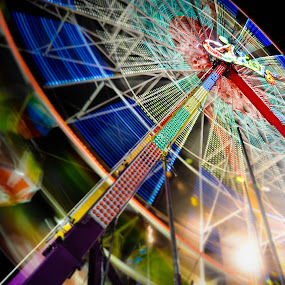 Wheel Of Light In Action by Wei Seong Yan - City,  Street & Park  Amusement Parks