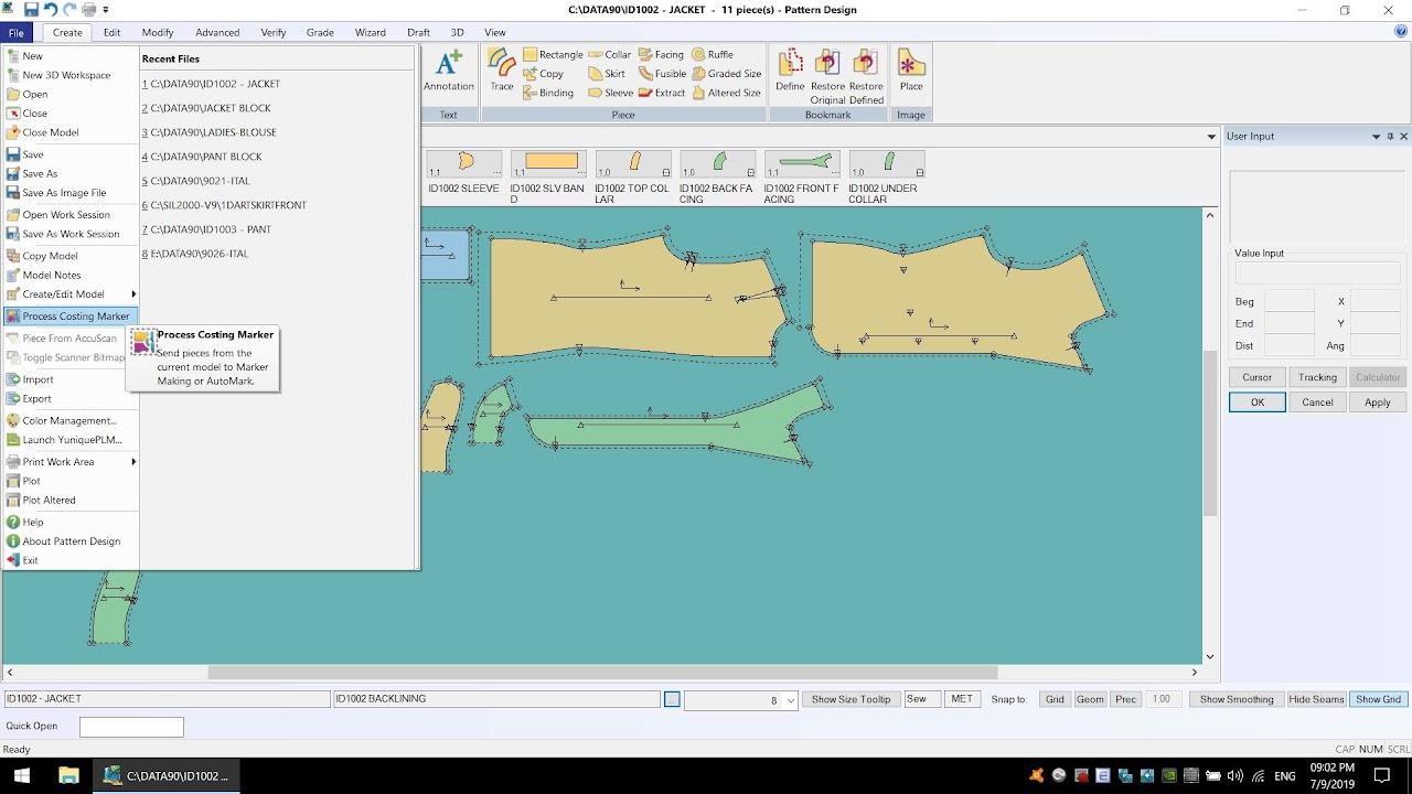 AccumarkV10 Pattern Design-Process Costing Marker: Tạo Sơ Đồ Tính Định Mức Tạm 2