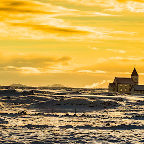 Country Church by Edvald Geirsson - Landscapes Sunsets & Sunrises ( mountains, iceland, winter, cold, church, lava, sunset, hafnarfjordur, steam )