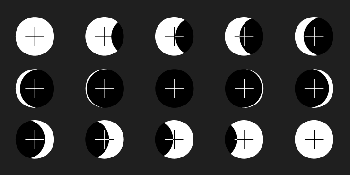 A grid of 15 round buttons with shadows representing the phases of the moon