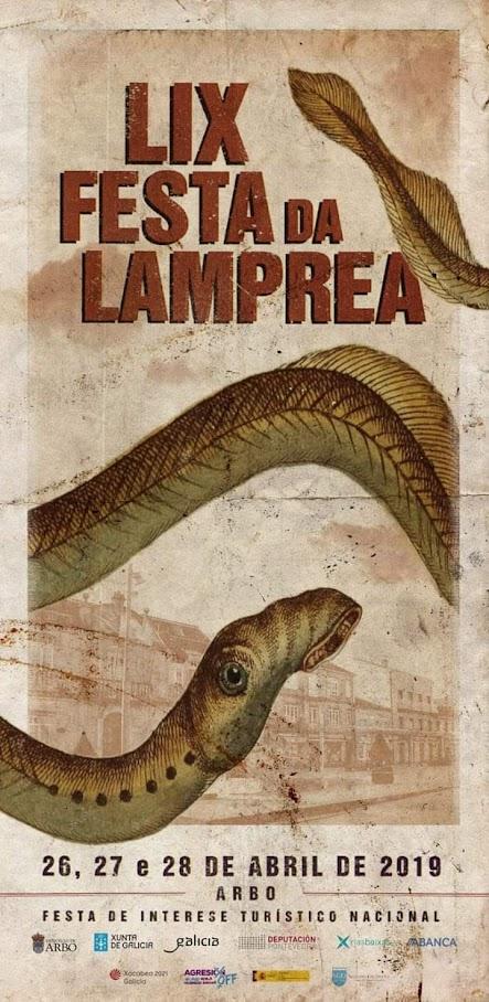 Cartel de la fiesta de la lamprea de Arbo. LIX edición. 2019