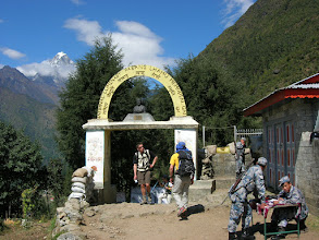Photo: Marcus is leaving Lukla, and heading for Phakding. Notice all the soldiers.