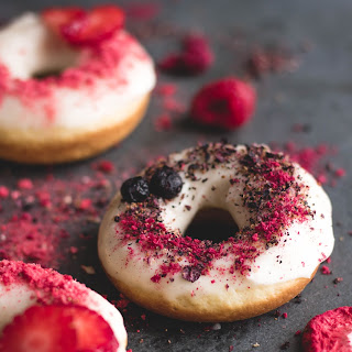 Baked Lemon Donuts with Freeze Dried Fruit.