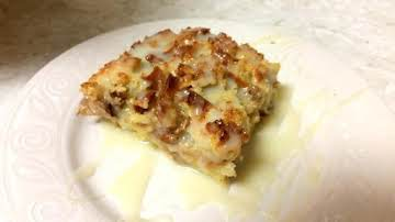 Eggnog Bread pudding with White Chocolate Ganache