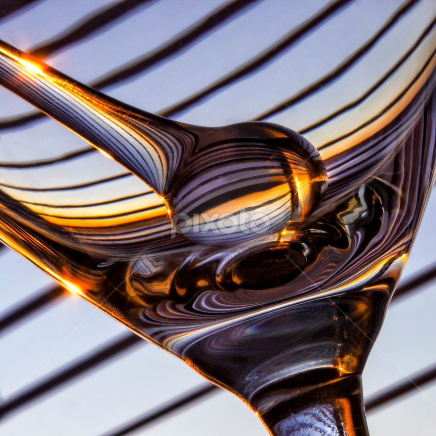 zebra glass by Marianna Armata - Abstract Patterns ( swizzle, detail, reflection, stipes, burst, object, marianna armata, refraction, curves, sun, macro, martini, pwclines, glass, lines, diagonal, zebra )