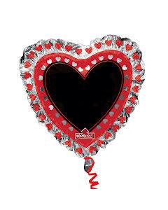 Folieballong, hjärta trefärgad