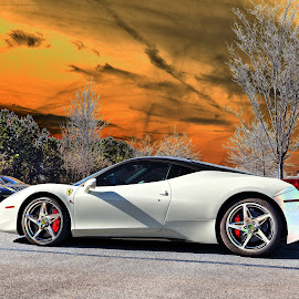 Ferrari by JEFFREY LORBER - Transportation Automobiles ( rust 'n chrome, white car, ferrari, lorberphoto, sports car )