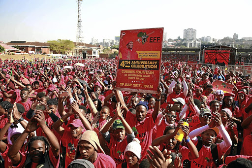EFF supporters. The EFF has expelled six of its councillors in Mogale City on the West Rand for defying the organisation by voting for the ANC. File photo.