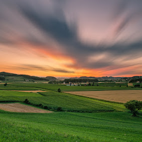 Summer evening by Peter Zajfrid - Landscapes Cloud Formations ( clouds, field, sunset, summer, long exposure )