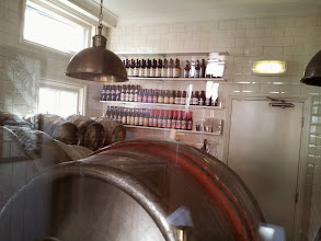 Photo: The Fat Cat pub in Colchester, England doesn't have a cask cellar. They have an enclosed cold room next to the bar that's held at 50 degrees F where casks are poured by gravity taps.