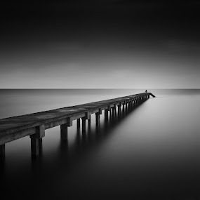 Wait + Fishing by Fadly Hj Halim - Landscapes Beaches ( beaches, b&w, sea, long exposure, monotone, alone )
