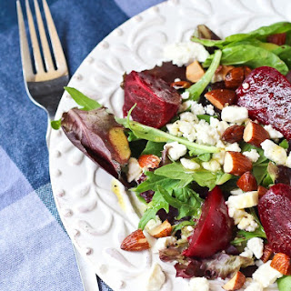 Salad with Beets, Almonds, Feta, and Dijon Vinaigrette