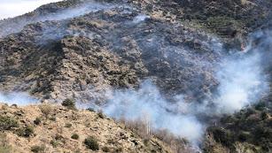 Humo y llamas en la zona del incendio, en una imagen del Infoca.
