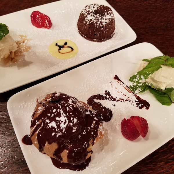 Cream puff dessert special and chocolate lava cake.