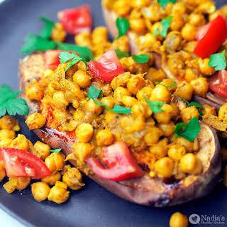 Baked Sweet Potato with Garam Masala Chickpeas.