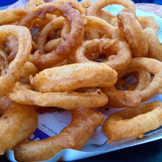 Beer Battered Onion Rings with Chipotle Dipping Sauce.