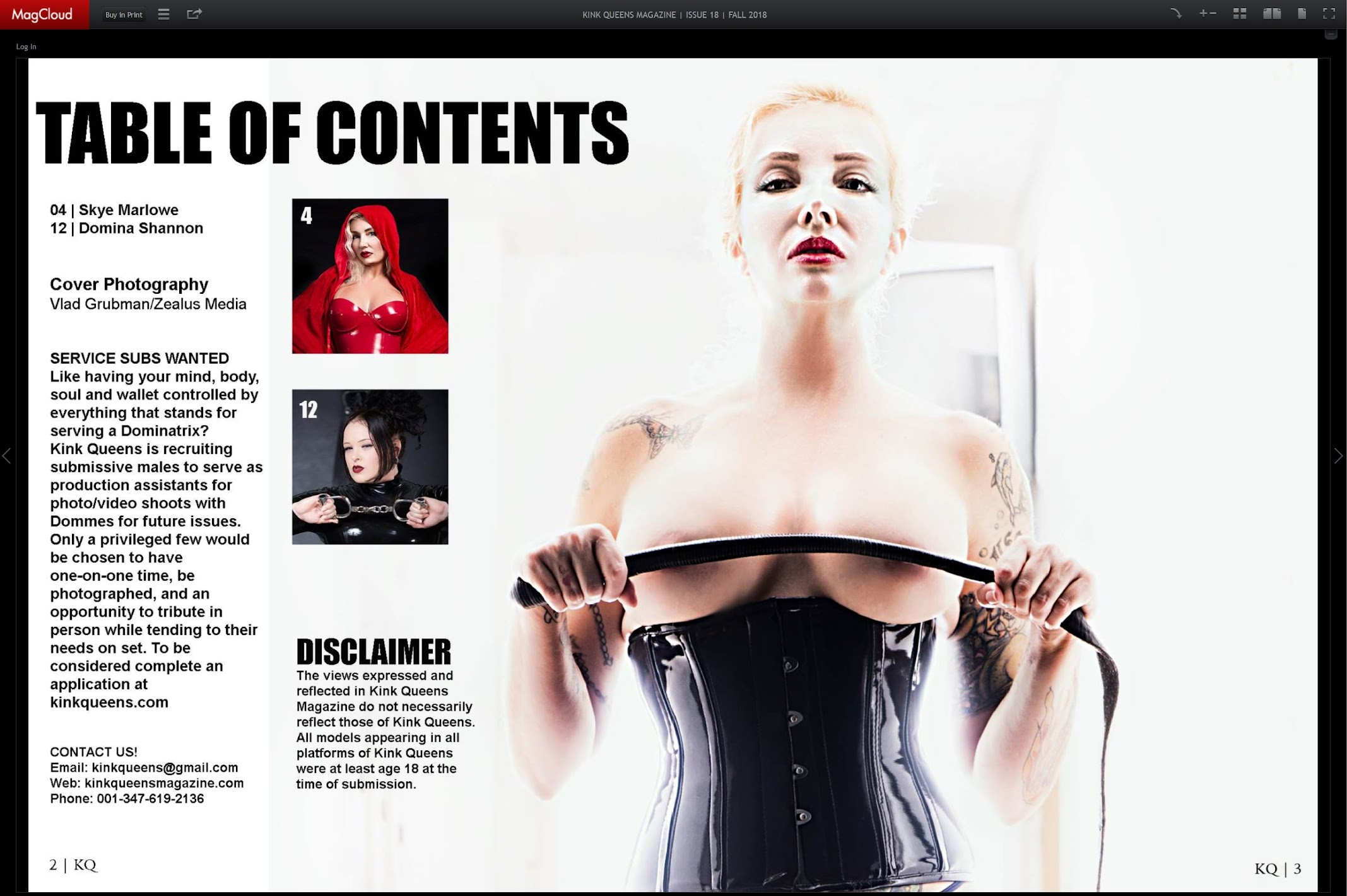 Publication in Kink Queens magazine - Table of Content page / Photography by Vlad Grubman, Zealusmedia.com