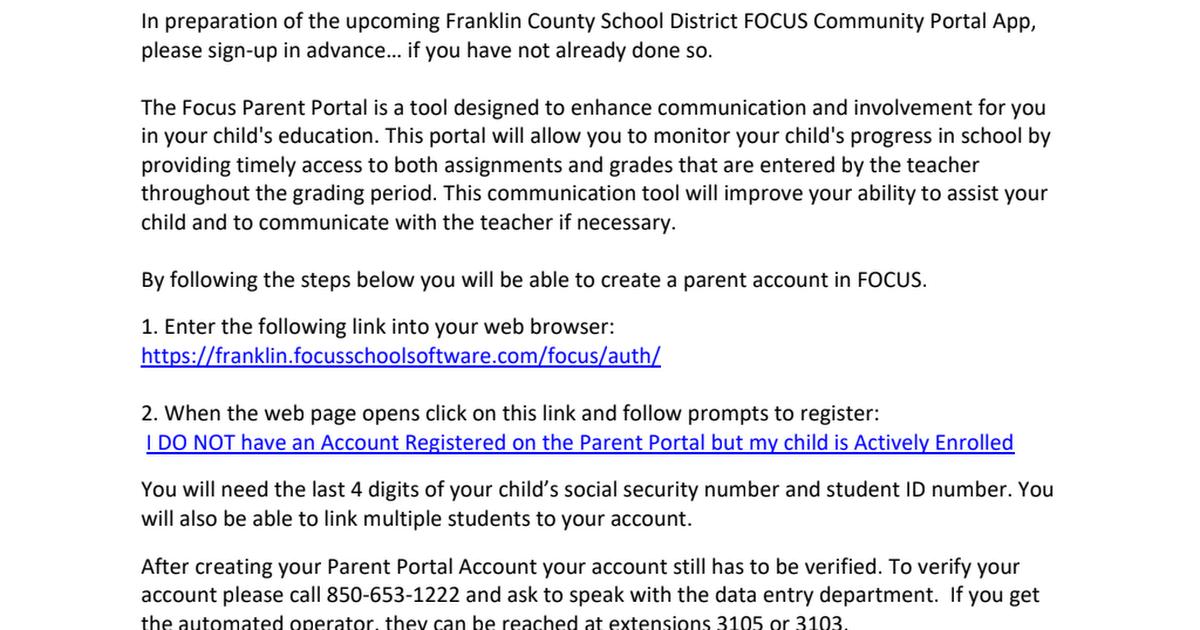 Microsoft Word Parent Portal Instructions 1 Focus Pdf Google Drive