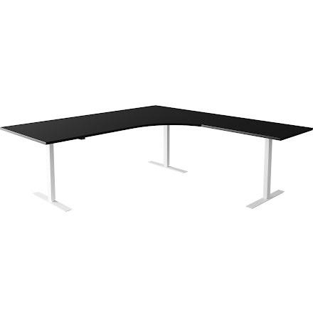Hörnskrivbord el vit/svart 180