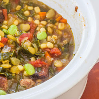 Sausage and Succotash Soup with Collards.