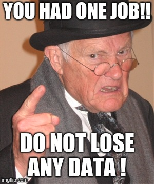 An old man angry because of data loss