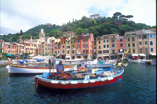 A scene along the harbor in Portofino, Italy.