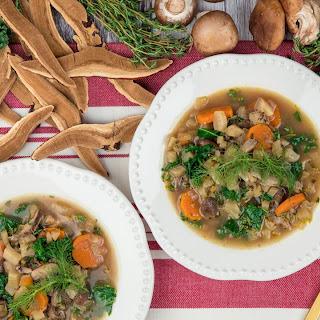 Reishi Mushroom Soup with Carrots and Kale.