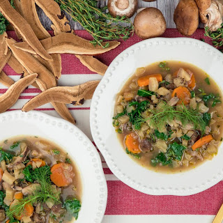 Reishi Mushroom Soup with Carrots and Kale.