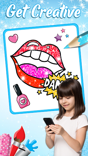 Glitter Lips with Makeup Brush Set coloring Game screenshot 4