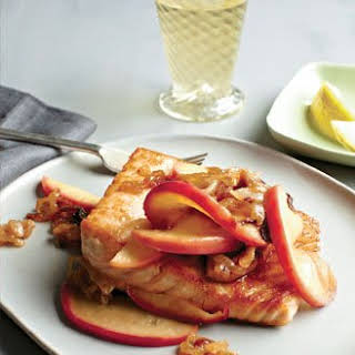Seared Salmon with Caramelized Apples and Onions.
