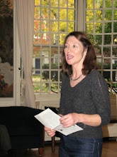 Photo: Ludmilla Leibman introducing concert at Lowell House, Harvard University