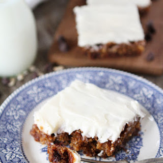 Oatmeal Chocolate Chip Cake with Cream Cheese Frosting.
