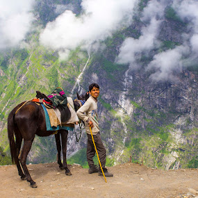 Standing on the Edge by Chandrasekhar Yanamandra - People Street & Candids ( horse, mountains, nature, hills, people )