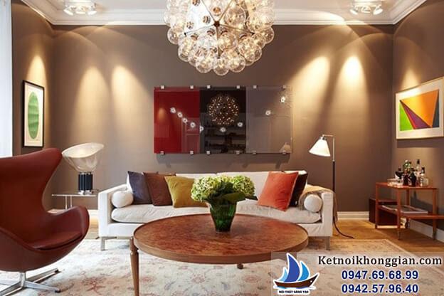 thiết kế phòng khách sử dụng bóng đèn cổ