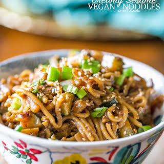 One Pot Creamy Vegan Tahini Noodles.