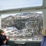 Hugo on the Swiss Train in Zermatt, Valais, Switzerland