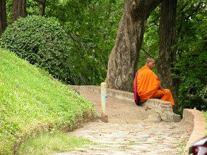 Photo: A local monk in a park in Phnom Penh